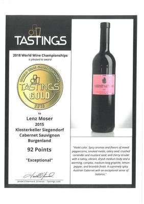 Další úspěch vín od Lenz Moser v roce 2018